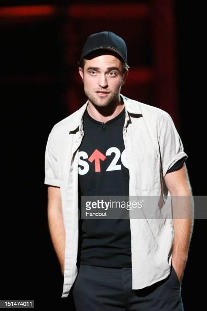 In this handout image provided by American Broadcasting Companies Inc Robert Pattinson speaks at Stand Up To Cancer at The Shrine Auditorium on...