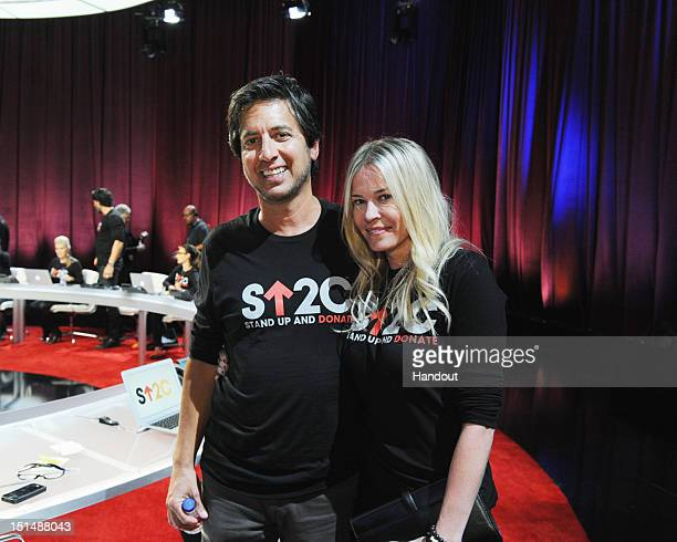 In this handout image provided by American Broadcasting Companies Inc Ray Romano and Chelsea Handler attend Stand Up To Cancer at The Shrine...