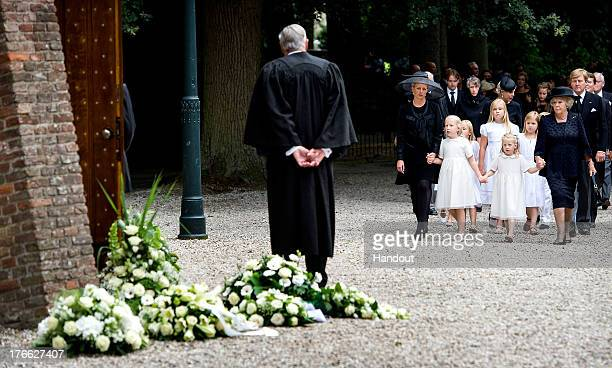 In this handout image provided by ANP Princess Mabel of the Netherlands walks with her daughters Countess Luana and Countess Zaria of the Netherlands...
