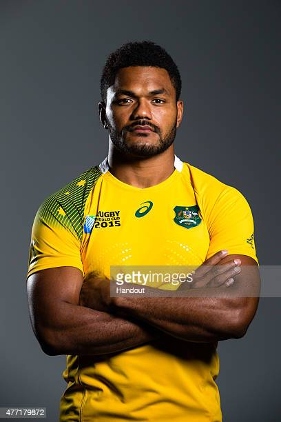 In this handout image provided by ASICS Henry Speight poses at the 2015 Australian Wallabies Rugby World Cup jersey launch at Allianz Stadium on June...