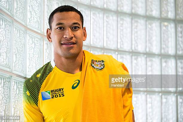 In this handout image provided by ASICS Israel Folau poses at the 2015 Australian Wallabies Rugby World Cup jersey launch at Allianz Stadium on June...