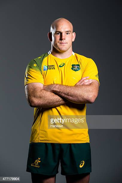 In this handout image provided by ASICS Stephen Moore poses at the 2015 Australian Wallabies Rugby World Cup jersey launch at Allianz Stadium on June...