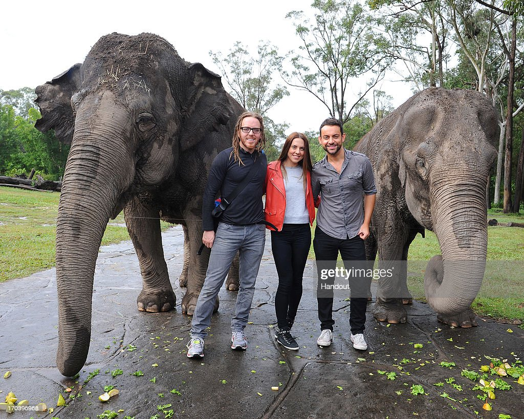 In this handout image provided by Australia Zoo, Jesus Christ Superstar cast members Melanie Chisholm, Tim Minchin, and Ben Forster visit Australia Zoo, on June 12, 2013 in Beerwah, Australia.