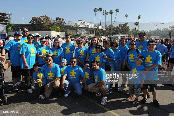 In this handout image provided by Autism Speaks a group poses at the 10th Annual Walk Now For Autism Speaks at the Rose Bowl on April 21 2011 in...