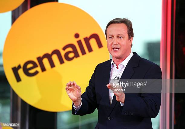 In this handout image provided by BuzzFeed British Prime Minister David Cameron takes part in a BuzzFeed News and Facebook live EU referendum debate...