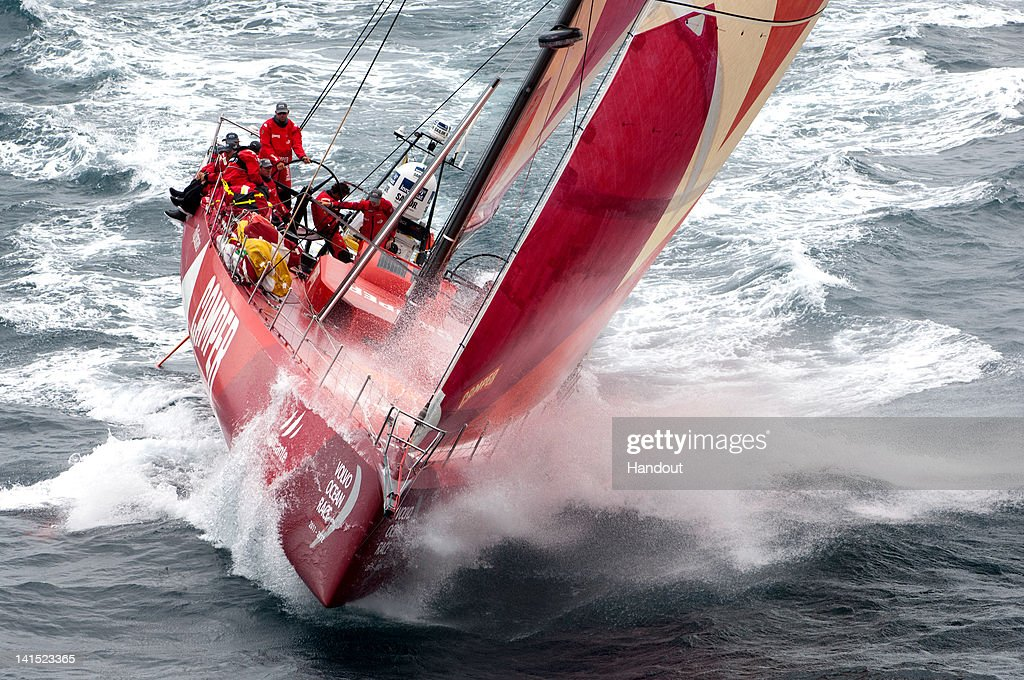In this handout image provided by CAMPER, CAMPER with Emirates Team New Zealand, skippered by Chris Nicholson from Australia during leg 5 of the Volvo Ocean Race 2011-12 from Auckland, New Zealand to Itajai, Brazil on March 18, 2012, At Sea.
