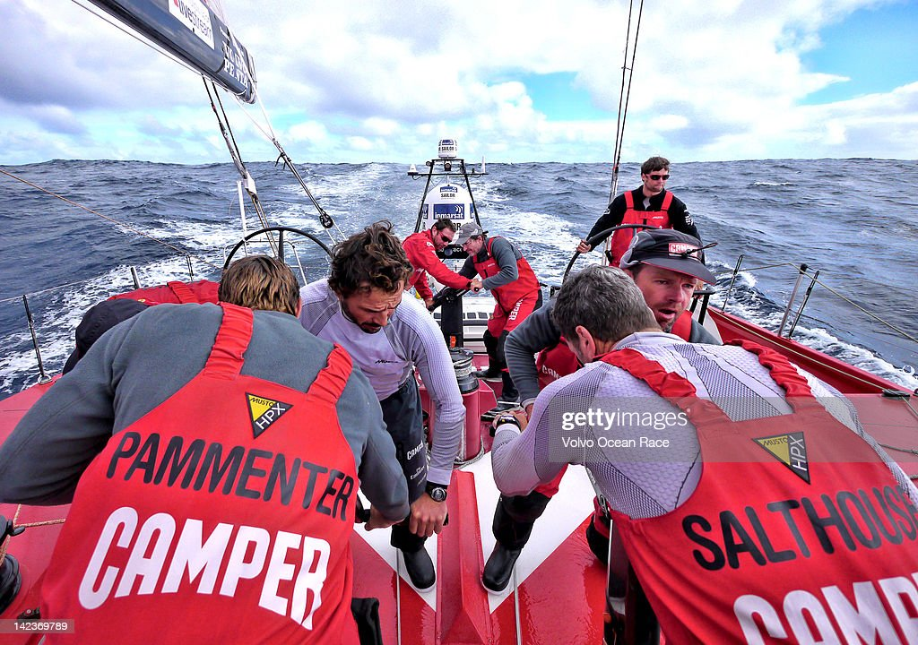 In this handout image provided by CAMPER, CAMPER with Emirates Team New Zealand, skippered by Chris Nicholson from Australia, perform a gybe during leg 5 of the Volvo Ocean Race 2011-12, on April 2, 2012 from Auckland, New Zealand to Itajai, Brazil.