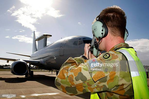 In this handout image provided by Commonwealth of Australia Department of Defence ground crew prepare the E7A Wedgetail Airborne Early Warning and...