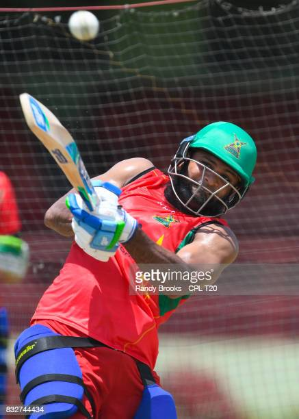 In this handout image provided by CPL T20 Assad Fudadin of Guyana Amazon Warriors during a training session before Match 15 of the 2017 Hero...