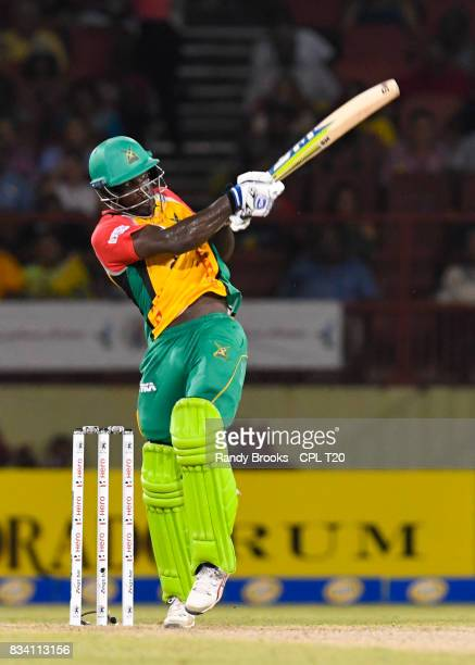 In this handout image provided by CPL T20 Chadwick Walton of Guyana Amazon Warriors hits 4 during Match 15 of the 2017 Hero Caribbean Premier League...