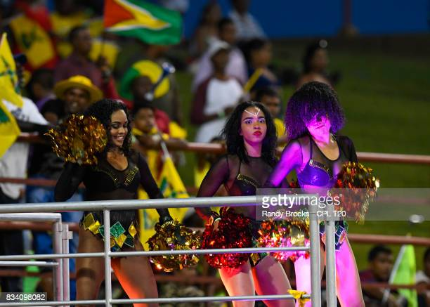 In this handout image provided by CPL T20 CPL cheerleaders during Match 15 of the 2017 Hero Caribbean Premier League between Guyana Amazon Warriors...
