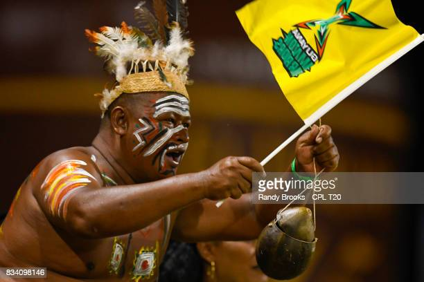 In this handout image provided by CPL T20 Fan of Guyana Amazon Warriors during Match 15 of the 2017 Hero Caribbean Premier League between Guyana...