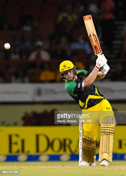 In this handout image provided by CPL T20 Glen Phillip of Jamaica Tallawahs during hits 4 Match 15 of the 2017 Hero Caribbean Premier League between...