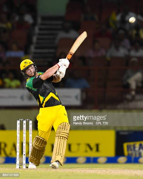 In this handout image provided by CPL T20 Glen Phillip of Jamaica Tallawahs during hits 6 Match 15 of the 2017 Hero Caribbean Premier League between...