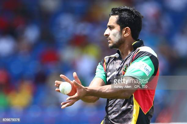 In this handout image provided by CPL T20 Hasan Ali of the St Kitts and Nevis Patriots during Match 2 of the 2017 Hero Caribbean Premier League...