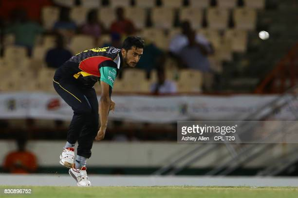 In this handout image provided by CPL T20 Hasan Ali of the St Kitts and Nevis Patriots bowls during Match 10 of the 2017 Hero Caribbean Premier...