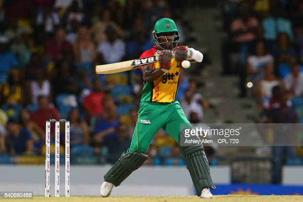 In this handout image provided by CPL T20 Jason Mohammed of the Guyana Amazon Warriors lines up a pullshot during Match 25 of the 2017 Hero Caribbean...