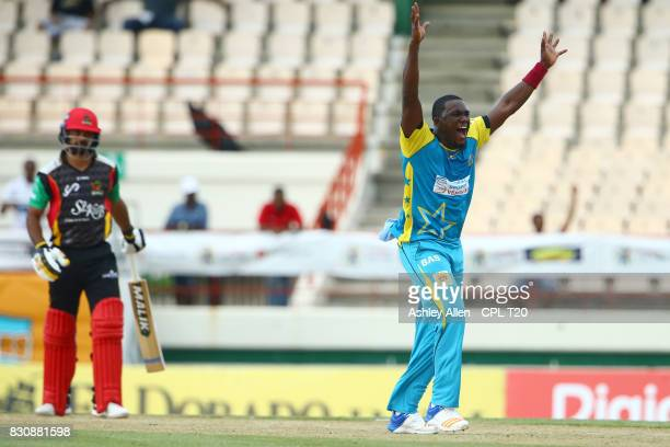 In this handout image provided by CPL T20 Jerome Taylor of St Lucia Stars appeals successfully for the wicket of Mohammed Hafeez of St Kitts and...