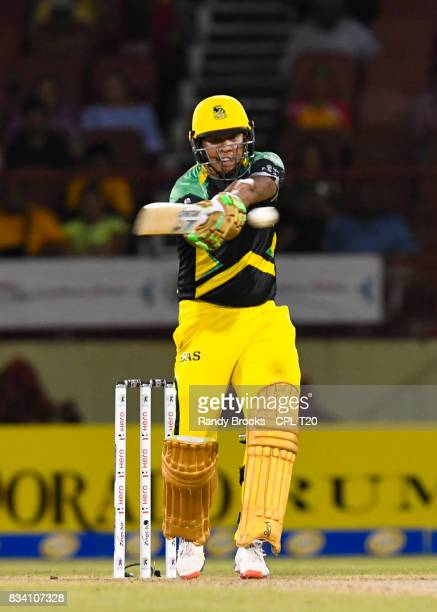 In this handout image provided by CPL T20 Jonathan Foo of Jamaica Tallawahs hits 4 during Match 15 of the 2017 Hero Caribbean Premier League between...