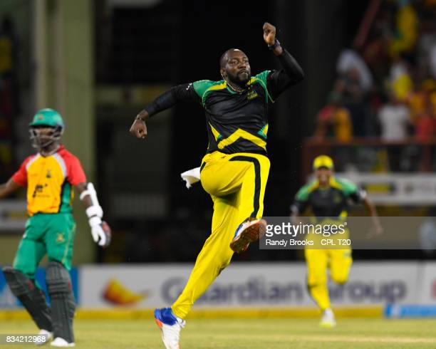 In this handout image provided by CPL T20 Kesrick Williams of Jamaica Tallawahs celebrates winning Match 15 of the 2017 Hero Caribbean Premier League...