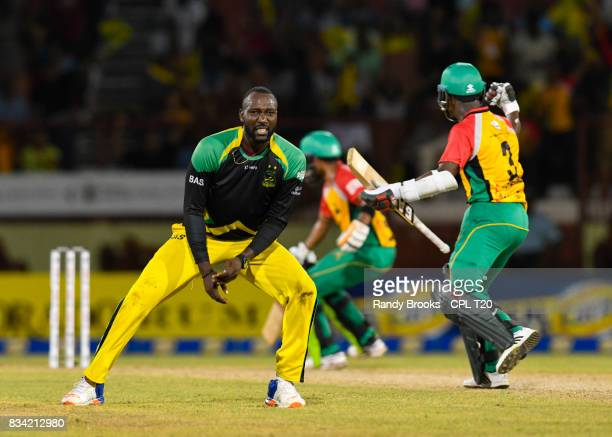 In this handout image provided by CPL T20 Kesrick Williams of Jamaica Tallawahs disappointed a catch was dropped during Match 15 of the 2017 Hero...