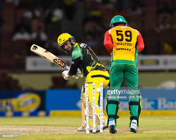 In this handout image provided by CPL T20 Kumar Sangakkara of Jamaica Tallawahs bowled by Steven Jacobs of Guyana Amazon Warriors during Match 15 of...