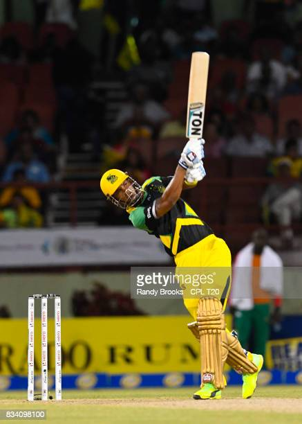 In this handout image provided by CPL T20 Lendl Simmons of Jamaica Tallawahs hits 4 during Match 15 of the 2017 Hero Caribbean Premier League between...