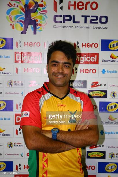 In this handout image provided by CPL T20 Man of the match Rashid Khan of the Guyana Amazon Warriors during Match 12 of the 2017 Hero Caribbean...
