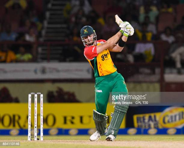 In this handout image provided by CPL T20 Martin Guptill of Guyana Amazon Warriors hits 4 during Match 15 of the 2017 Hero Caribbean Premier League...