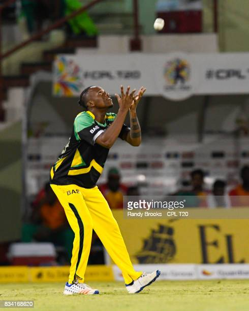 In this handout image provided by CPL T20 Trevon Griffith of Jamaica Tallawahs takes the catch to dismiss Chadwick Walton of Guyana Amazon Warriors...