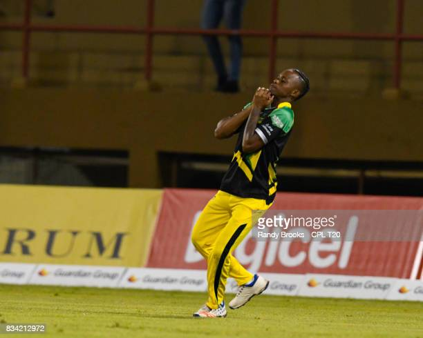 In this handout image provided by CPL T20 Trevon Griffith of Jamaica Tallawahs takes the final catch to dismiss Roshan Primus of Guyana Amazon...