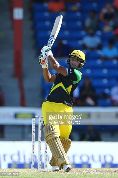 In this handout image provided by CPL T20Shakib Al Hasan of Jamaica Tallawahs strikes a six during Match 5 of the 2017 Hero Caribbean Premier League...