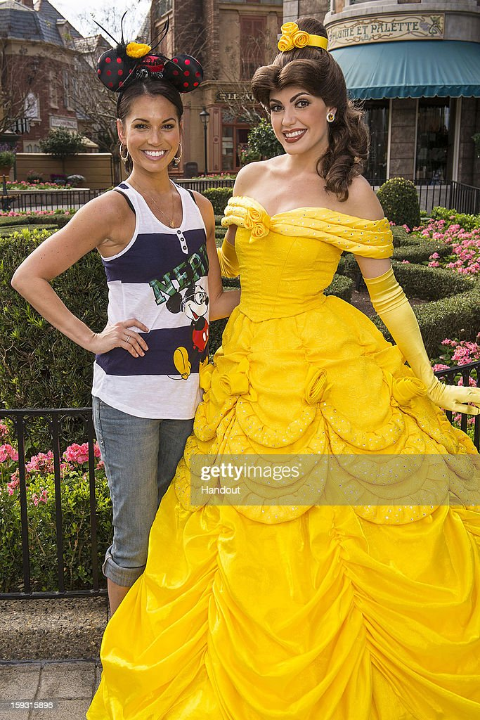 In this handout image provided by Disney Parks, <a gi-track='captionPersonalityLinkClicked' href=/galleries/search?phrase=Melissa+Rycroft&family=editorial&specificpeople=5761590 ng-click='$event.stopPropagation()'>Melissa Rycroft</a>, the most recent winner of ABC's 'Dancing with the Stars' and former contestant on 'The Bachelor,' poses with Princess Belle from Disney's 'Beauty and the Beast' at the France pavilion in the Epcot theme park January 11, 2013 in Lake Buena Vista, Florida. Epcot is one of four theme parks at Walt Disney World Resort.