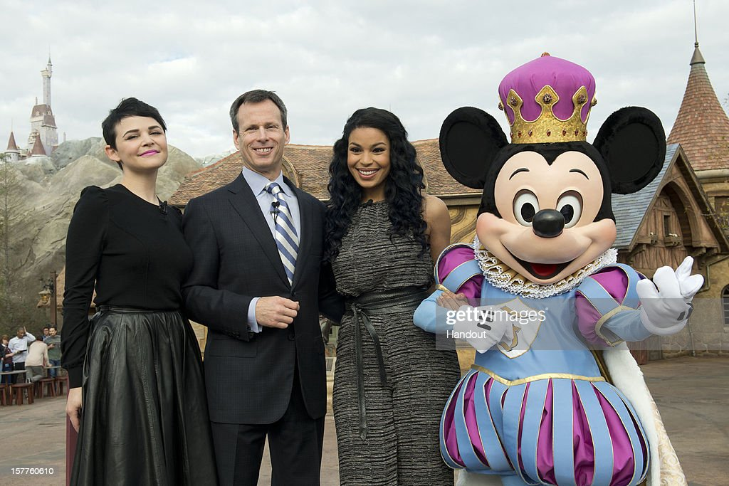 In this handout image provided by Disney Parks, (L-R) 'Once Upon a Time' star <a gi-track='captionPersonalityLinkClicked' href=/galleries/search?phrase=Ginnifer+Goodwin&family=editorial&specificpeople=215039 ng-click='$event.stopPropagation()'>Ginnifer Goodwin</a>, Disney Parks and Resorts Chairman Tom Staggs, singer <a gi-track='captionPersonalityLinkClicked' href=/galleries/search?phrase=Jordin+Sparks&family=editorial&specificpeople=4165535 ng-click='$event.stopPropagation()'>Jordin Sparks</a> and Mickey Mouse pose at the grand opening of New Fantasyland at Walt Disney World Resort December 6, 2012 in Lake Buena Vista, Florida. New Fantasyland is a new area in the Magic Kingdom and is the largest expansion in the 41-year history of the theme park.