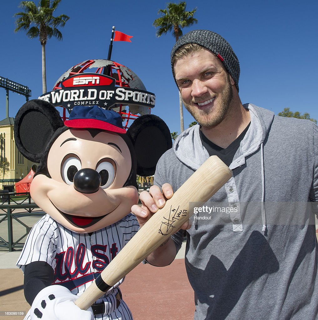 In this handout image provided by Disney Parks, reigning National League Rookie of the Year <a gi-track='captionPersonalityLinkClicked' href=/galleries/search?phrase=Bryce+Harper&family=editorial&specificpeople=5926486 ng-click='$event.stopPropagation()'>Bryce Harper</a> of the Washington Nationals poses with Mickey Mouse at ESPN Wide World of Sports Complex March 4, 2013 at Walt Disney World in Lake Buena Vista, Florida. Harper also was named to the 2012 NL All-Star Team. The Washington Nationals are hosting their MLB Spring Training in nearby Viera, Florida.