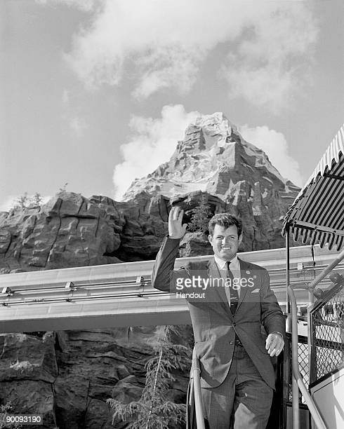 In this handout image provided by Disney Senator Edward M Kennedy visits the Matterhorn at Disneyland in November 1960 in Anaheim California