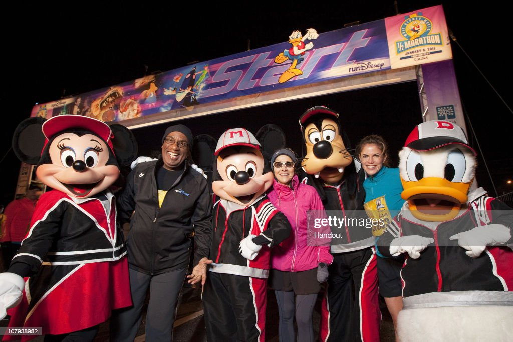 In this handout image provided by Disney 'Today Show' hosts Al Roker Meredith Vieira and Natalie Morales pose with Disney characters at the start...