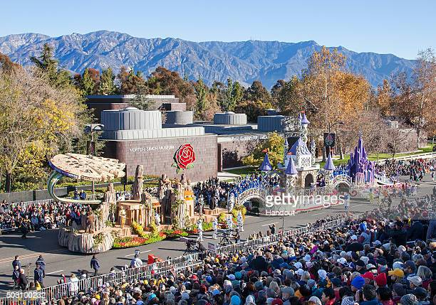 In this handout image provided by Disneyland The Disneyland Resort entry in the 2016 Rose Parade brings to life the Disneyland Resort Diamond...