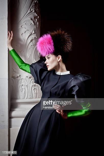 In this handout image provided by Elsa Schiaparelli a model showcases a design during the Elsa Schiaparelli presentation as part of Paris Fashion...