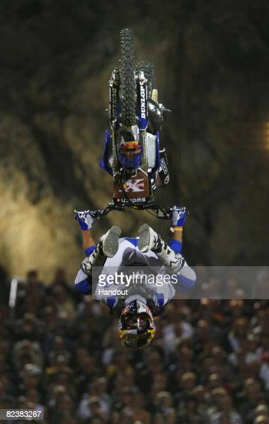 In this handout image provided by euronewsroomcom Robbie Maddison of Australia performs during the fifth stage of the Red Bull XFighters World Series...