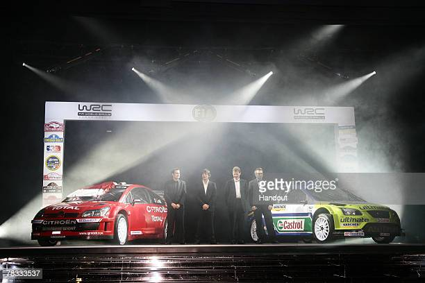 In this handout image provided by FIA World Rally Champion codriver Daniel Elena of Monaco and Citroen World Rally Champion driver Sebastien Loeb of...