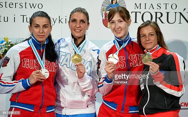 In this handout image provided by FIE Aida Shanaeva of Russia Arianna Errigo of Italy Larisa Korobeynokova of Russia and Carolin Golubytskyi of...