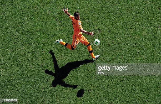 In this handout image provided by FIFA Fernando Muslera of Uruguay takes a goal kick during the FIFA Confederations Cup Brazil 2013 3rd Place match...