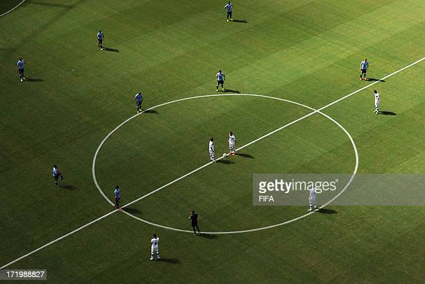 In this handout image provided by FIFA Italy prepare to kick off during the FIFA Confederations Cup Brazil 2013 3rd Place match between Uruguay and...