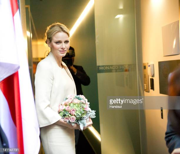 In this handout image provided by Fondation Princesse Charlene HSH Princess Charlene of Monaco visits Monaco House on March 9 2012 in Melbourne...