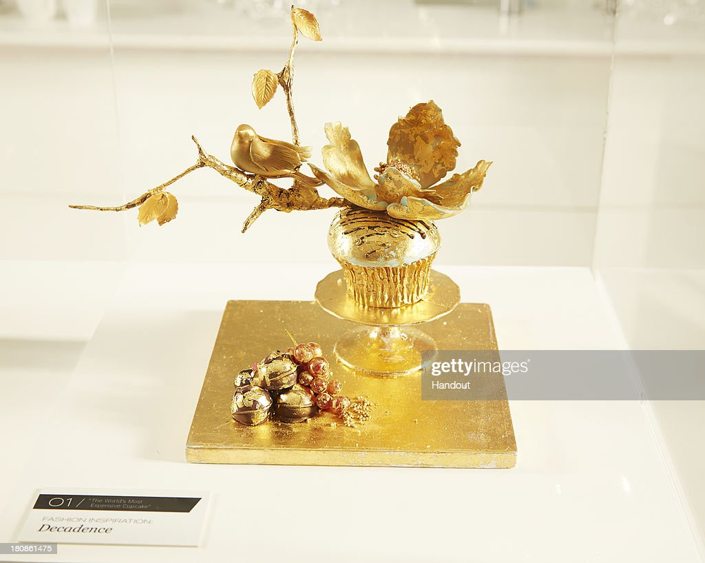 In this handout image provided by Food Network UK the world's most expensive cupcake is on display at Food Network Showcase on September 17 2013 in...