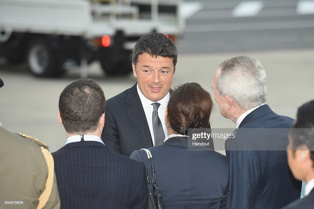 In this handout image provided by Foreign Ministry of Japan, Italian Prime Minister <a gi-track='captionPersonalityLinkClicked' href=/galleries/search?phrase=Matteo+Renzi&family=editorial&specificpeople=6689301 ng-click='$event.stopPropagation()'>Matteo Renzi</a> is seen upon arrival at the Chubu Centrair International Airport on May 26, 2016 in Nagoya, Japan. In the two-day summit held on May 26 and 27, the G7 leaders are scheduled to discuss the pressing global issues including counter-terrorism, energy policy, and sustainable development.