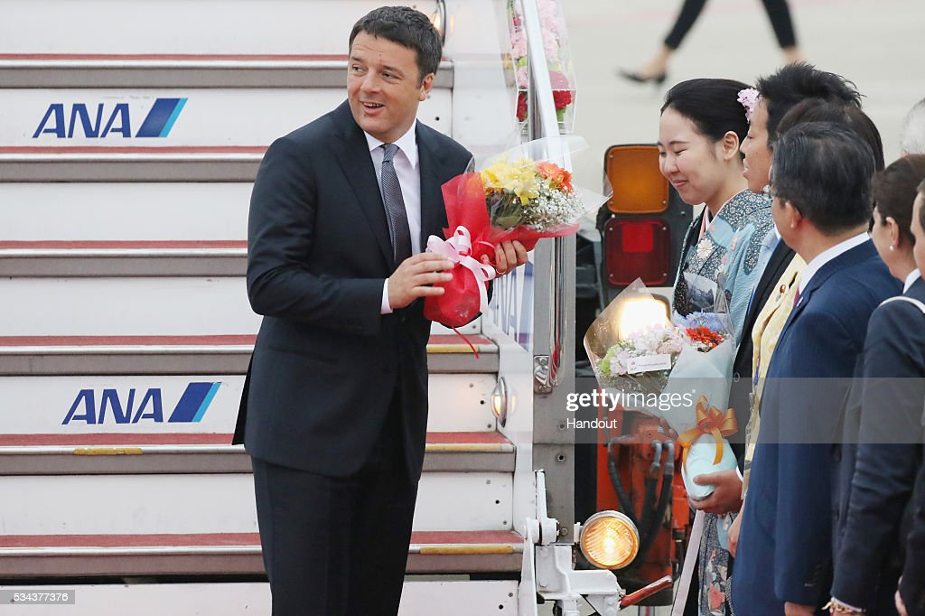 In this handout image provided by Foreign Ministry of Japan, Italian Prime Minister Matteo Renzi is seen upon arrival at the Chubu Centrair International Airport on May 26, 2016 in Nagoya, Japan. In the two-day summit held on May 26 and 27, the G7 leaders are scheduled to discuss the pressing global issues including counter-terrorism, energy policy, and sustainable development.