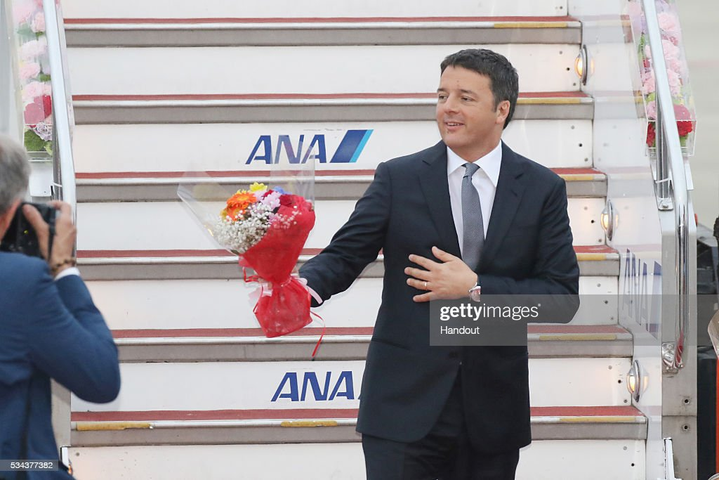 In this handout image provided by Foreign Ministry of Japan Italian Prime Minister Matteo Renzi is seen upon arrival at the Chubu Centrair...