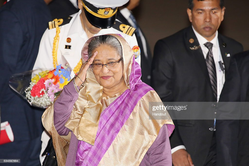 In this handout image provided by Foreign Ministry of Japan Prime Minister of Bangladesh Sheikh Hasina is seen upon arrival at the Chubu Centrair...